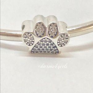 Authentic Pandora paw print sparkling charm + box